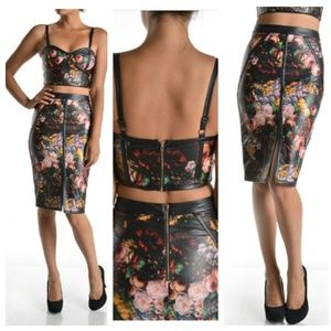 2 pc Faux leather floral skirt set